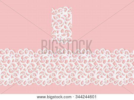 Seamless Border Lace Fabric Texture. White Openwork Pattern On Pink Background. Pattern Brush. Craft