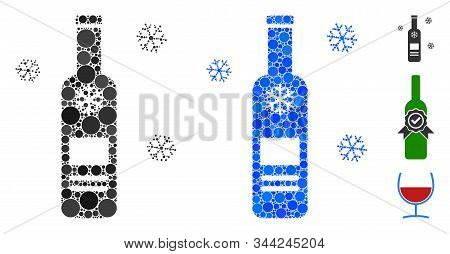 Cold Vodka Bottle Mosaic Of Circle Elements In Different Sizes And Color Tints, Based On Cold Vodka