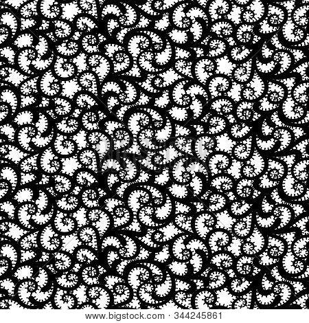 Seamless Lace Fabric Texture. Black And White Openwork Pattern Background.