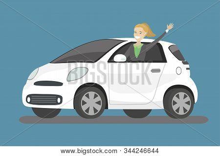 Happy Cartoon Caucasian Woman Rides In White Car