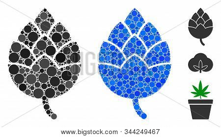 Hop Bud Composition Of Round Dots In Different Sizes And Color Tinges, Based On Hop Bud Icon. Vector