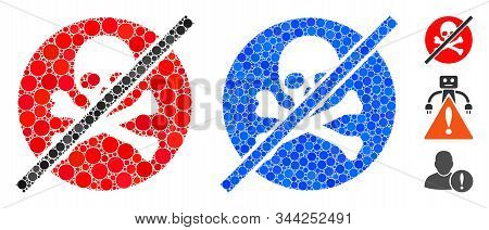 No Toxins Composition Of Round Dots In Variable Sizes And Color Tinges, Based On No Toxins Icon. Vec
