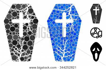 Old Coffin Mosaic Of Small Circles In Variable Sizes And Color Tinges, Based On Old Coffin Icon. Vec