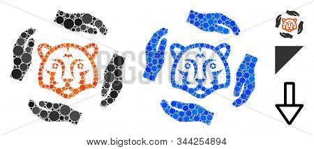 Save Tigers Mosaic Of Round Dots In Variable Sizes And Shades, Based On Save Tigers Icon. Vector Rou
