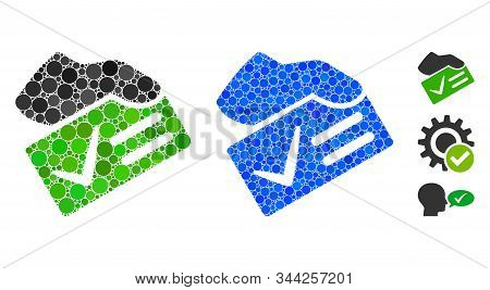 Vote Yes Mosaic Of Spheric Dots In Different Sizes And Color Hues, Based On Vote Yes Icon. Vector Do