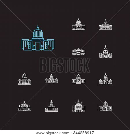 Building Icons Set. Arizona State Capitol And Building Icons With Senate, Dome And Idaho State Capit