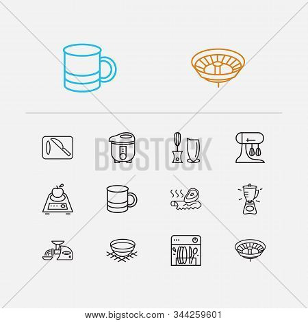 Kitchenware Icons Set. Cutting Board And Kitchenware Icons With Mug, Bowl And Blender. Set Of Plumbi