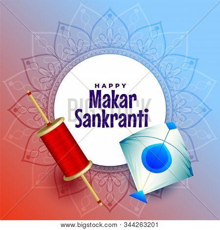 Hindu Festival Of Makar Sankrati With Kite And Spool