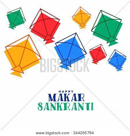 Colorful Flying Kites Makar Sankranti Festival Background
