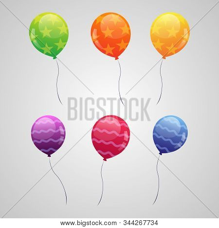 Bunches Of Colorful Helium Balloons. Set Balloons For Birthday, Festive Occasions, Parties, Weddings