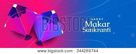 Indian Kite Festival Of Makar Sankranti Colorful Banner