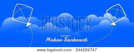 Kites Flying In The Sky Makar Sankranti Banner