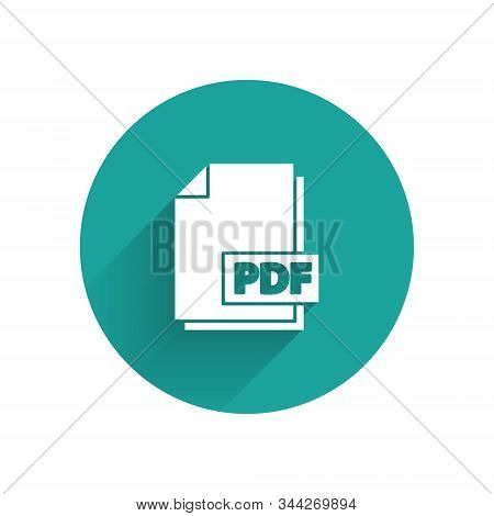 White Pdf File Document. Download Pdf Button Icon Isolated With Long Shadow. Pdf File Symbol. Green