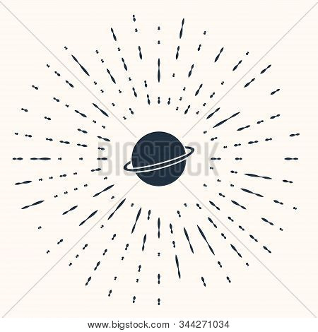Grey Planet Saturn With Planetary Ring System Icon Isolated On Beige Background. Abstract Circle Ran