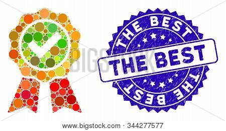 Mosaic The Best Icon And Rubber Stamp Seal With The Best Phrase. Mosaic Vector Is Formed With The Be