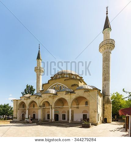 The Old Multi-domed Juma Khan-jami Mosque In Yevpatoria. Sunny Summer Day