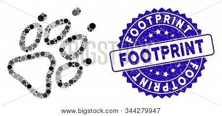 Mosaic Footprint Icon And Rubber Stamp Seal With Footprint Phrase. Mosaic Vector Is Designed With Fo