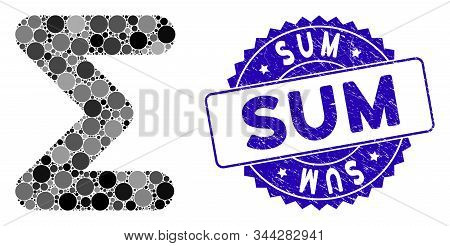 Mosaic Sum Icon And Distressed Stamp Seal With Sum Text. Mosaic Vector Is Formed With Sum Pictogram
