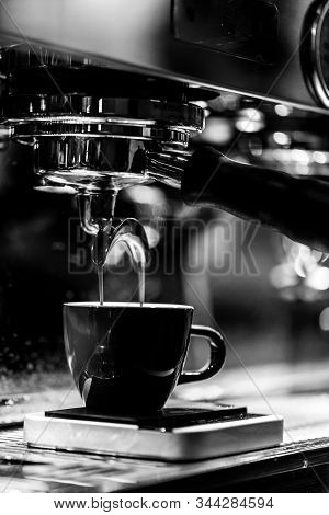 Cup Of Espresso Coffee At The Cafe, Preparation Process