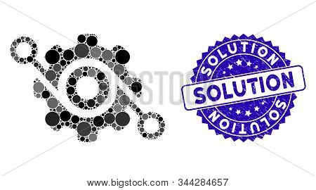 Mosaic Gear Solution Icon And Corroded Stamp Seal With Solution Phrase. Mosaic Vector Is Created Wit
