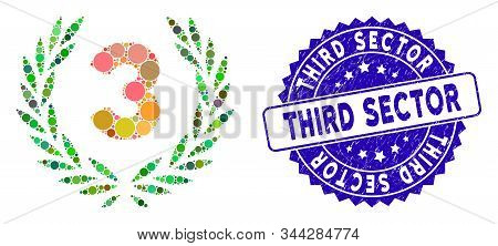 Collage Third Laurel Wreath Icon And Grunge Stamp Seal With Third Sector Phrase. Mosaic Vector Is Cr