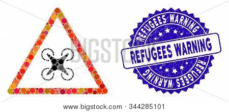 Mosaic Copter Danger Icon And Rubber Stamp Seal With Refugees Warning Text. Mosaic Vector Is Compose