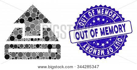 Mosaic Drive Upload Icon And Distressed Stamp Watermark With Out Of Memory Text. Mosaic Vector Is Co