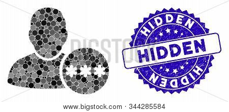 Mosaic User Hidden Password Icon And Rubber Stamp Watermark With Hidden Caption. Mosaic Vector Is De