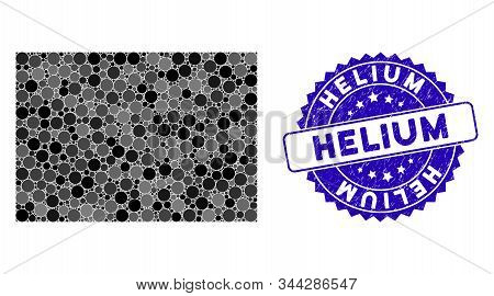 Mosaic Filled Rectange Icon And Corroded Stamp Seal With Helium Caption. Mosaic Vector Is Formed Wit
