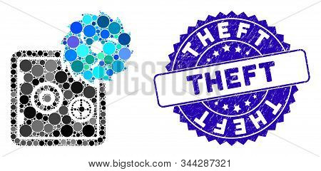 Mosaic Safe Hacking Theft Icon And Rubber Stamp Seal With Theft Text. Mosaic Vector Is Formed From S