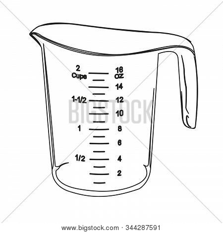 Measuring Cup Contour Vector Illustration Bake, Container, Contour, Cook, Cooking, Cookware, Cup, Di
