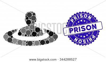 Mosaic Prison Icon And Rubber Stamp Watermark With Prison Caption. Mosaic Vector Is Formed With Pris