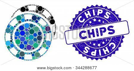 Mosaic Casino Chips Icon And Distressed Stamp Seal With Chips Text. Mosaic Vector Is Created From Ca