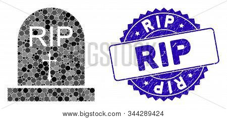Mosaic Rip Icon And Grunge Stamp Seal With Rip Phrase. Mosaic Vector Is Designed From Rip Icon And W