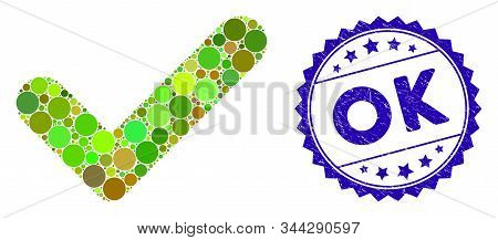 Mosaic Ok Icon And Rubber Stamp Watermark With Ok Text. Mosaic Vector Is Created With Ok Icon And Wi