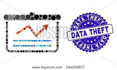 Mosaic Chart Icon And Distressed Stamp Seal With Data Theft Phrase. Mosaic Vector Is Created With Ch