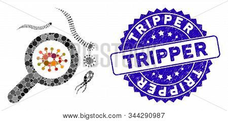Mosaic Explore Microbes Icon And Distressed Stamp Seal With Tripper Phrase. Mosaic Vector Is Compose