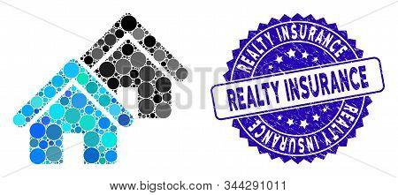 Mosaic Realty Icon And Corroded Stamp Seal With Realty Insurance Phrase. Mosaic Vector Is Formed Fro