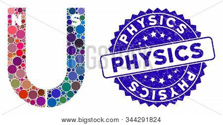 Mosaic Horseshoe Magnet Icon And Grunge Stamp Seal With Physics Caption. Mosaic Vector Is Designed F
