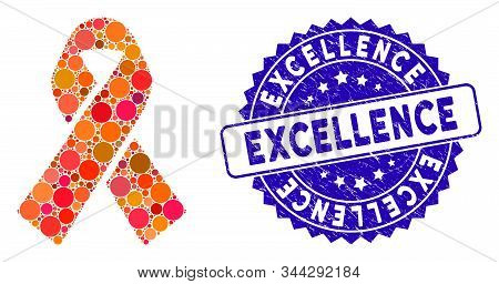 Mosaic Ribbon Icon And Grunge Stamp Seal With Excellence Caption. Mosaic Vector Is Created With Ribb