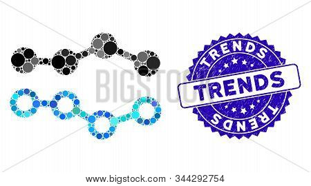 Mosaic Trends Icon And Grunge Stamp Seal With Trends Text. Mosaic Vector Is Formed With Trends Icon