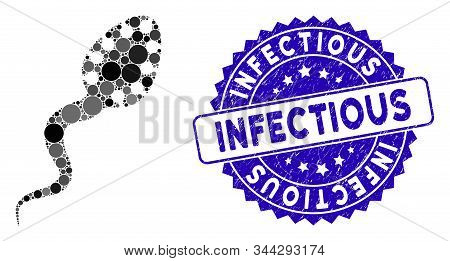 Mosaic Infectious Microbe Icon And Corroded Stamp Seal With Infectious Phrase. Mosaic Vector Is Comp