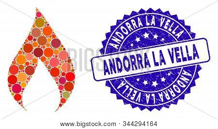 Mosaic Flame Icon And Rubber Stamp Seal With Andorra La Vella Caption. Mosaic Vector Is Formed With
