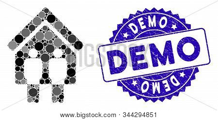 Mosaic Living Persons Icon And Rubber Stamp Seal With Demo Caption. Mosaic Vector Is Created With Li