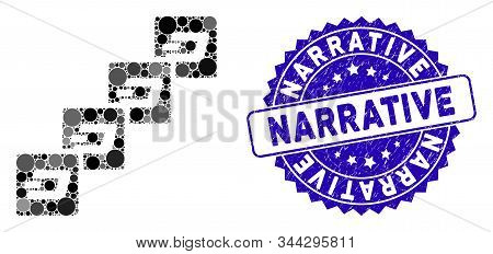 Mosaic Dash Block Chain Icon And Grunge Stamp Watermark With Narrative Phrase. Mosaic Vector Is Comp