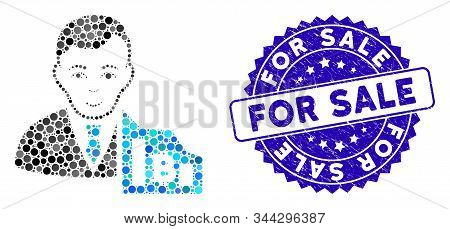 Mosaic Bitcoin Trader Icon And Corroded Stamp Seal With For Sale Phrase. Mosaic Vector Is Created Wi
