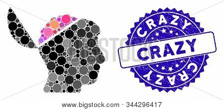 Mosaic Open Brain Icon And Rubber Stamp Seal With Crazy Text. Mosaic Vector Is Designed With Open Br