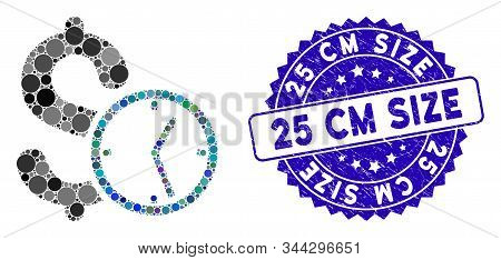 Mosaic Dollar Credit Icon And Corroded Stamp Seal With 25 Cm Size Caption. Mosaic Vector Is Designed