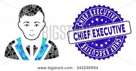 Mosaic Noble Gentleman Icon And Rubber Stamp Seal With Chief Executive Text. Mosaic Vector Is Design