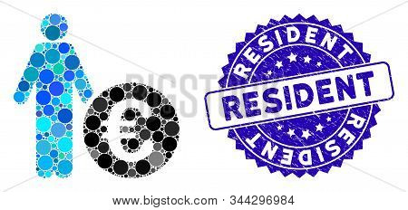 Mosaic Euro Investor Icon And Rubber Stamp Seal With Resident Text. Mosaic Vector Is Designed With E